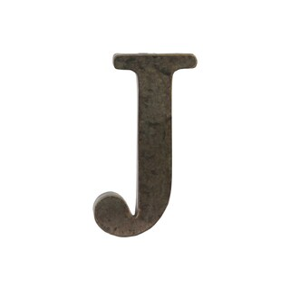 Bronze Metal Alphabet Tarnished Wall Decor 'J' Letter