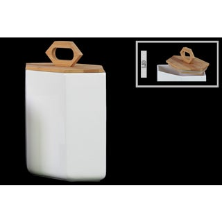 White Stoneware Hexagonal Large Canister with Bamboo Lid and Handle