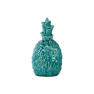 Ceramic Pineapple Figurine Gloss Finish Turquoise