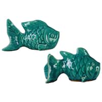 Ceramic Koi Fish Figurine Washed Gloss Finish (Set of 2)