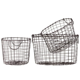 Coated Finish Brown Steel Wire Nesting Oblong Basket with Lattice Mesh Design and Handles (Set of 3)