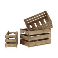 Wood Rectangular Natural Brown Spaced Nesting Crate (Set of 3)