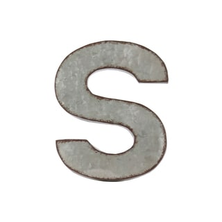 Grey Zinc Alphabet Galvanized Wall Decor Letter 'S' with Rusted Edges