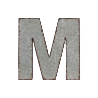 Grey Zinc Alphabet Galvanized Wall Decor Letter 'M' with Rusted Edges