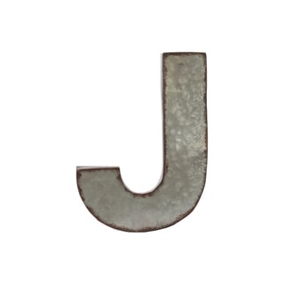 Grey Zinc Alphabet Galvanized Wall Decor Letter 'J' with Rusted Edges