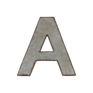 Grey Zinc Alphabet Galvanized Wall Decor Letter 'A' with Rusted Edges