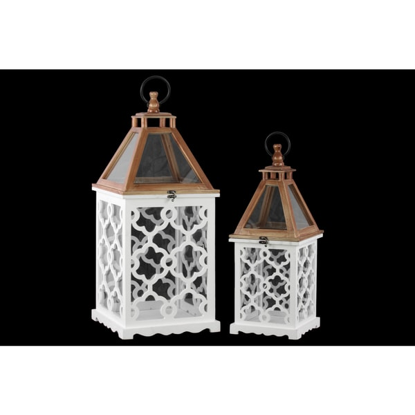 White Wood and Glass Top Square Lantern with Lattice Design Body (Set of 2)