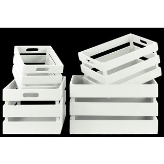 Distressed White Wood Rectangular Nesting Crates with Cutout Handles (Set of 4)