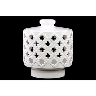 Ceramic Round Canister with Cutout Quatrefoil and Star Design Gloss Finish White