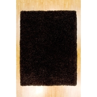 LYKE Home Contemporary Black Handmade Shag Area Rug (5' x 7')