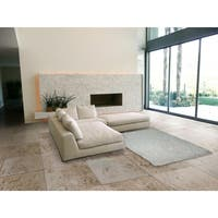 LYKE Home Contemporary White Handmade Shag Area Rug - 5' x 7'