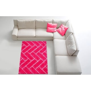 LYKE Home Contemporary Pink Jumbo Thick Shag Area Rug (8' x 11')
