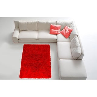 LYKE Home Contemporary Red Handmade Shag Area Rug (8' x 11')