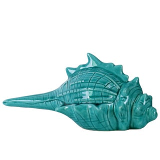 Distressed Glossy Blue Finish Ceramic Conch Figurine