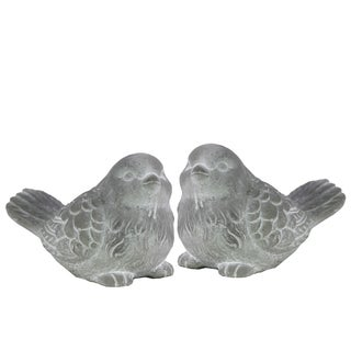 White Washed Concrete Finish Cement Bird Figurines (Set of 2)