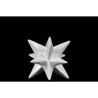 Glossy White Finish Ceramic Small Stellated Icosahedron Sculpture