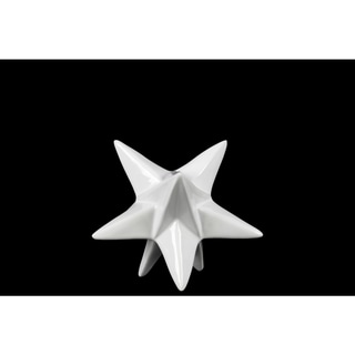 Glossy White Finish Ceramic Small Stellated Dodecahedron Sculpture