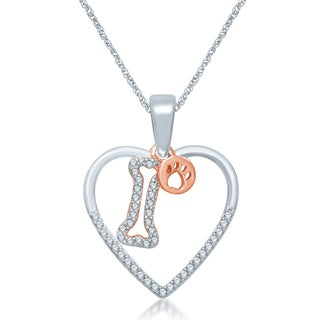 Unending Love Sterling Silver 1/6ct TDW Diamond Bone and Paw Print Pendant (I-J, I1-I2)