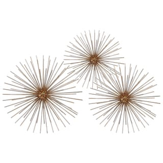 Electroplated Finish Antique Goldtone Metal Ball Sculpture Sea Urchin Design (Set of 3)