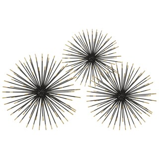 Electroplated Finish Black Metal Ball Sculpture Sea Urchin Design (Set of 3)