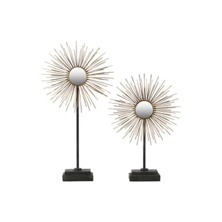 Metallic Finish Antique Goldtone Metal Ball Sculpture Sea Urchin with Mirror and Stand (Set of 2)