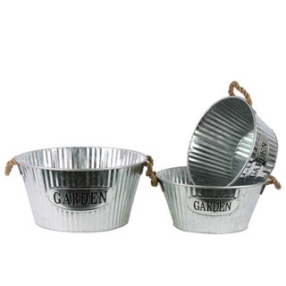 Washed Finish Silver Metal Short Round Planter with Corrugated Sides Design and Rope Handles (Set of 3)