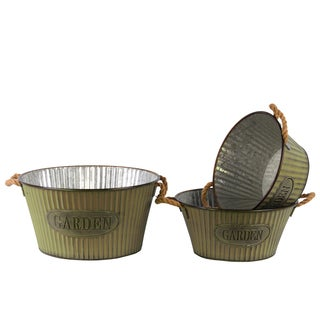 Washed Finish Yellow Metal Short Round Planter with Corrugated Sides Design and Rope Handles (Set of 3)