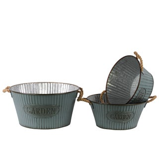 Washed Finish Light Blue Metal Short Round Planter with Corrugated Sides Design and Rope Handles (Set of 3)