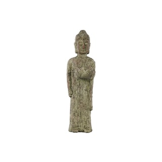 Cement Standing Buddha Figurine with Rounded Ushnisha and Bowl Washed Finish Moss Green