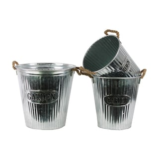 Washed Finish Silver Metal Long Round Body Planter with Corrugated Sides Design and Rope Handles (Set of 3)