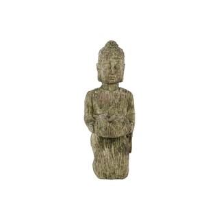 Cement Kneeling Buddha Figurine with Rounded Ushnisha and Bowl Washed Finish Moss Green