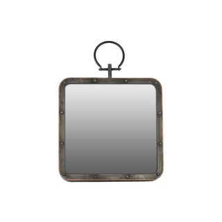 Gloss Finish Black Metal Square Wall Mirror with Metal Hanger