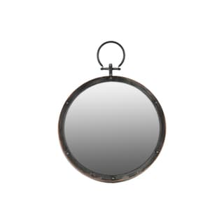 Gloss Finish Black Metal Round Wall Mirror with Metal Hanger - Antique Silver - A/N
