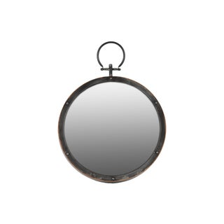 Gloss Finish Black Metal Round Wall Mirror with Metal Hanger