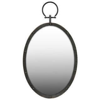Gloss Finish Black Metal Oval Wall Mirror with Metal Hanger