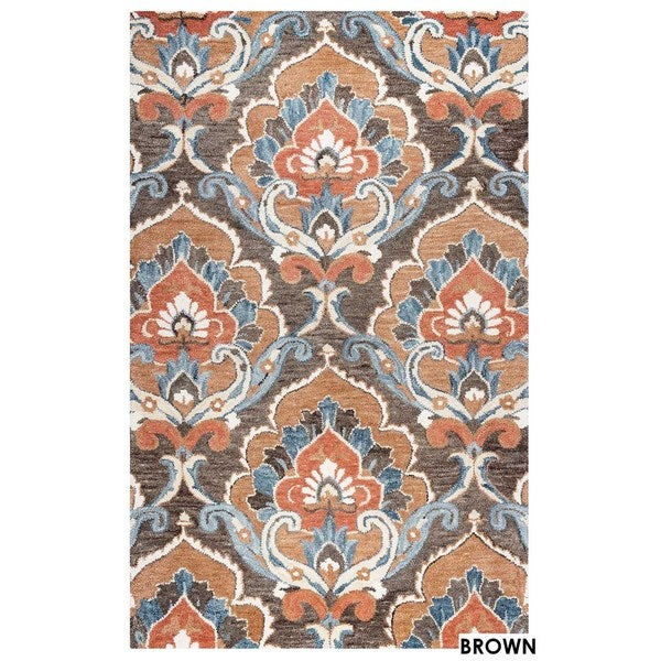 Napoli Collection Damask Area Rug (8' x 10') - 8' x 10'