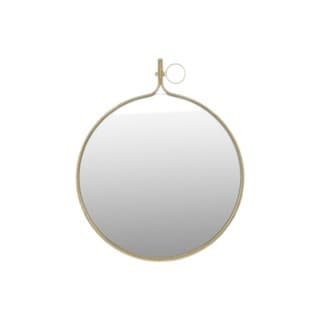 Large Gloss Finish Black Metal Round Wall Mirror with Metal Hanger