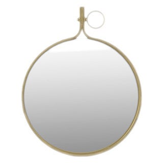 Small Gloss Finish Black Metal Round Wall Mirror with Metal Hanger