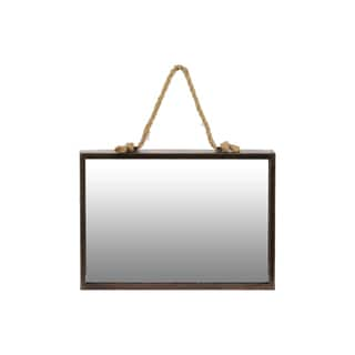 Tarnished Finish Bronze Metal Rectangular Wall Mirror with Rope Hanger - Antique Bronze - A/N