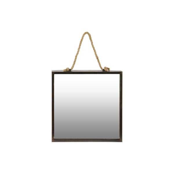 Tarnished Finish Bronze Metal Square Wall Mirror with Rope Hanger