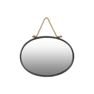 Tarnished Finish Gunmetal Gray Metal Oval Wall Mirror with Rope Hanger