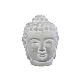 Cement Buddha Head with Rounded Ushnisha Washed Concrete Finish White