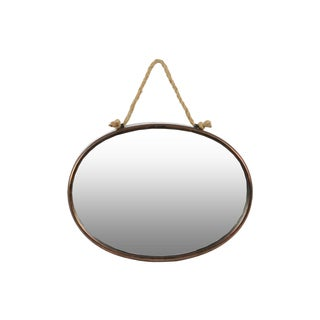 Tarnished Finish Bronze Metal Oval Wall Mirror with Rope Hanger