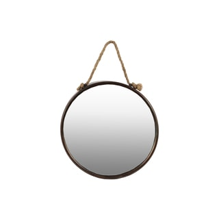 Tarnished Finish Bronze Metal Round Wall Mirror with Rope Hanger