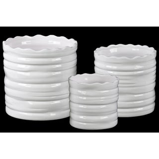 Coated Finish White Ceramic Square Flower Pot with Tapered Bottom and Ribbed Side (Set of 3)