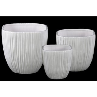 Coated Finish White Ceramic Round Flower Pot with Wave Pattern Mouth and Ribbed Side (Set of 3)