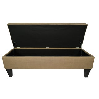 MJL Furniture Brooke 10 Button Tufted Allure Long Storage Bench Ottoman
