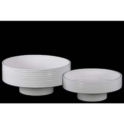 Gloss Finish White Ceramic Round Flower Pot with Depressed Bottom and Ribbed Side (Set of 2)