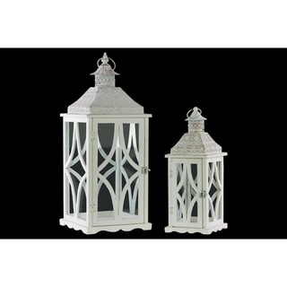 Wood Square Lantern with Pierced Metal Top, Glass and Astroid Design Side, and Ring Handle Set of Two Coated Finish White
