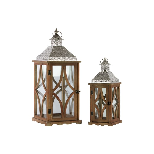 Wood Square Lantern with Pierced Metal Top, Glass and Astroid Design Side, and Ring Handle Set of Two Natural Wood Finish Brown
